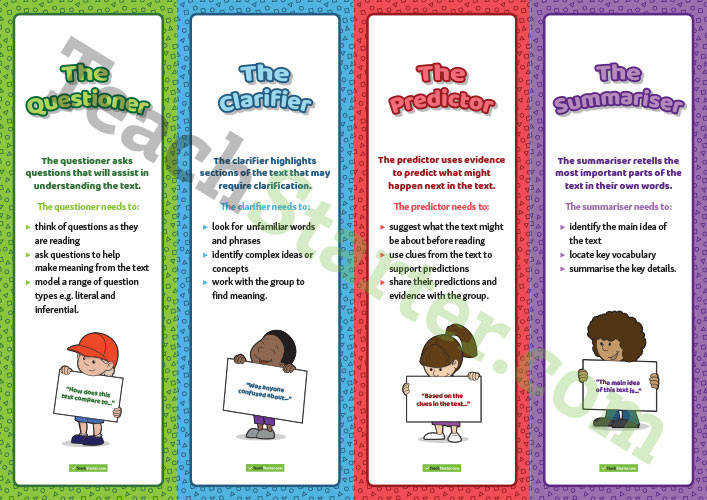 Reciprocal Teaching Role Bookmarks
