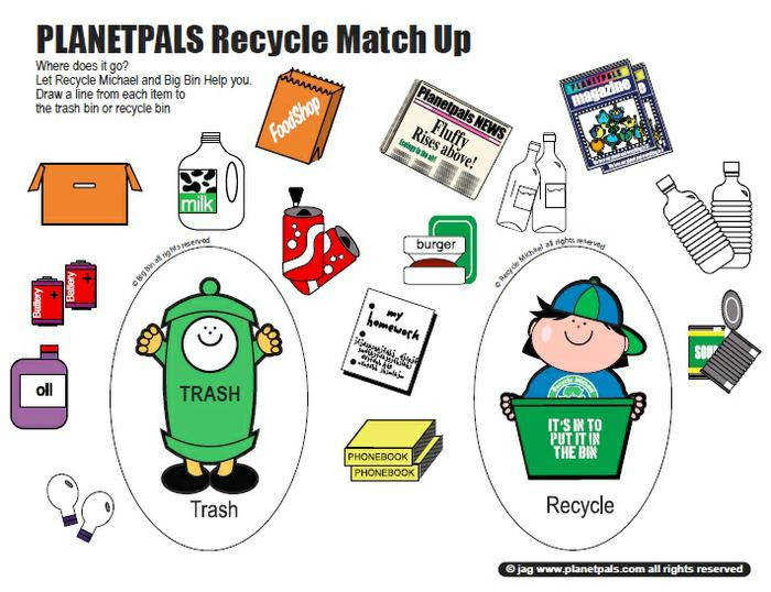 Earth day recycling preschool printable activity