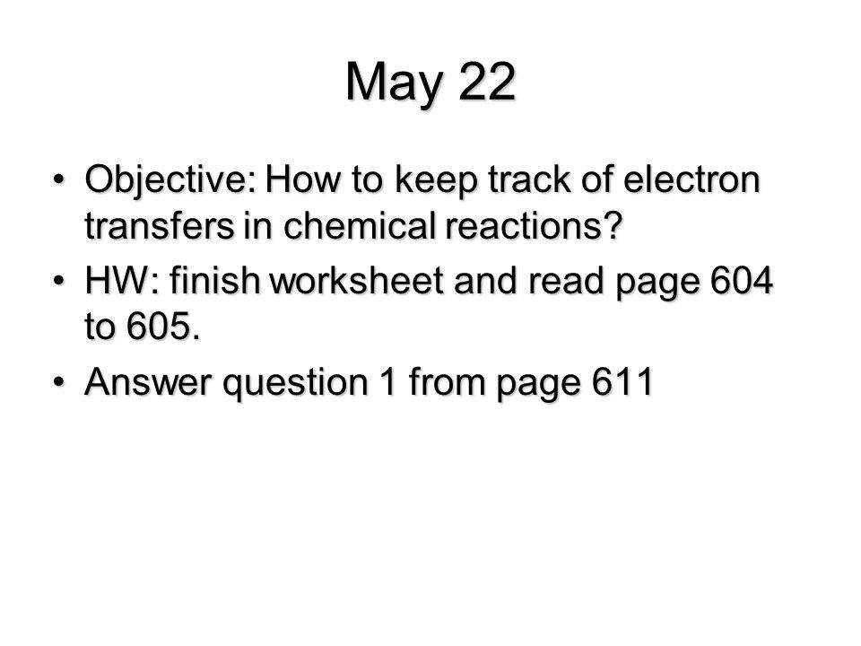May 22 Objective How to keep track of electron transfers in chemical reactions HW
