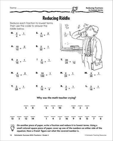 Reducing Riddle Reducing Fractions to Lowest Terms Printables