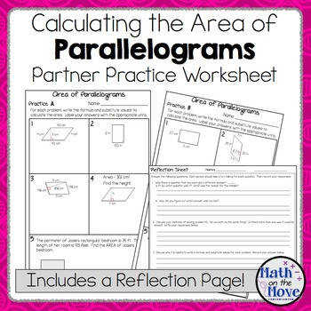 Area of Parallelograms Partner Practice Worksheet with a Reflection Page
