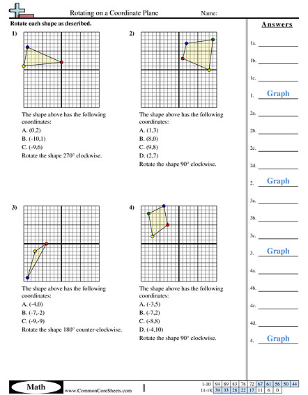 Rotating on a Coordinate Plane worksheet