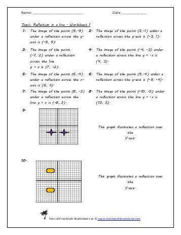 Reflection in a Line Worksheet Five Pack Version 2 Math