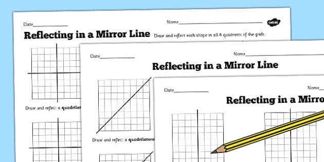 T2 M 936 Reflections in a Mirror Line Worksheet