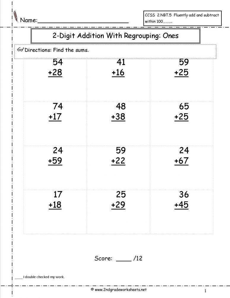Digit Addition With Regrouping Worksheets 2nd GradeNew Calendar an image part of Digit Addition With