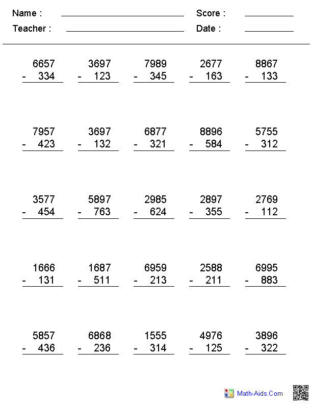2 3 or 4 Digit No Regrouping Vertical Format Subtraction Worksheets