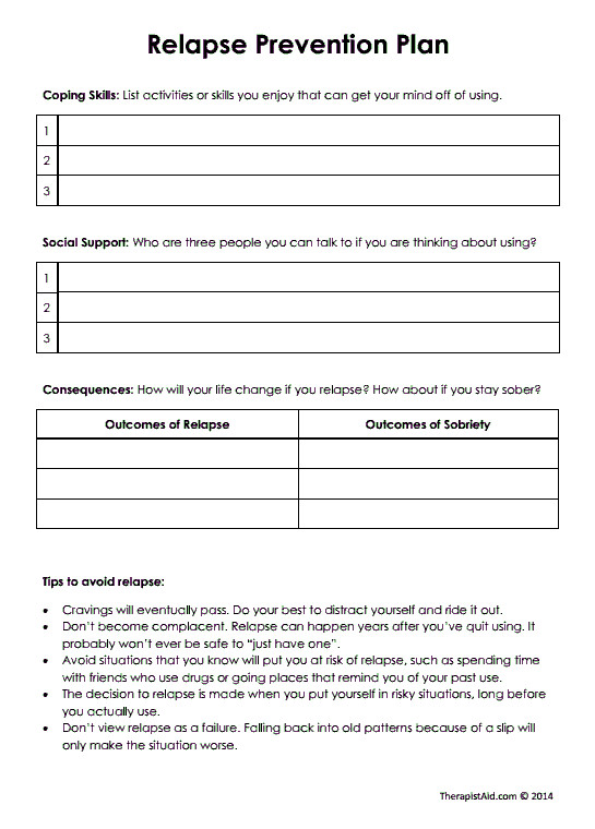 Relapse Prevention Plan Worksheet