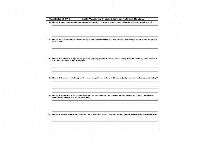 Best Solutions Relapse Prevention Worksheets For Substance