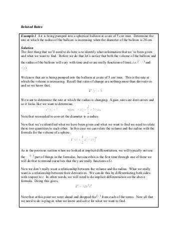 Related Rates worksheet solution