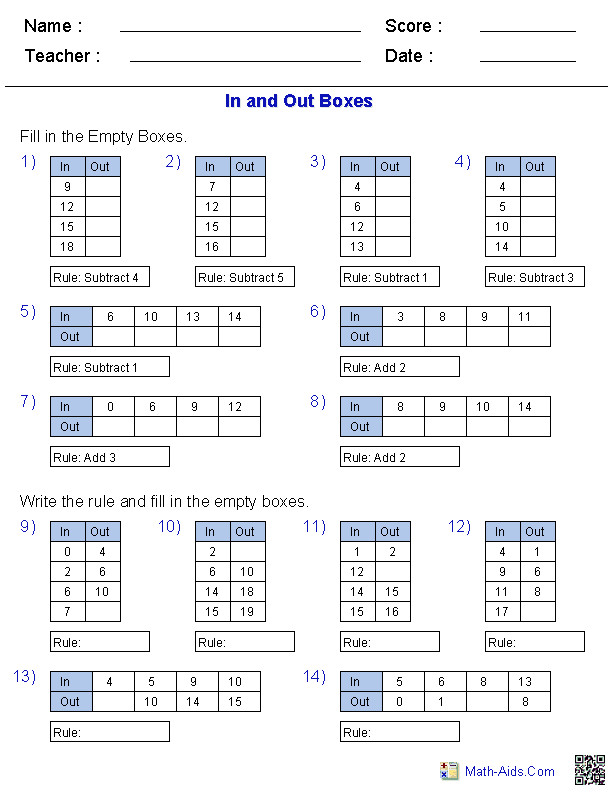 In and Out Boxes for Addition and Subtraction
