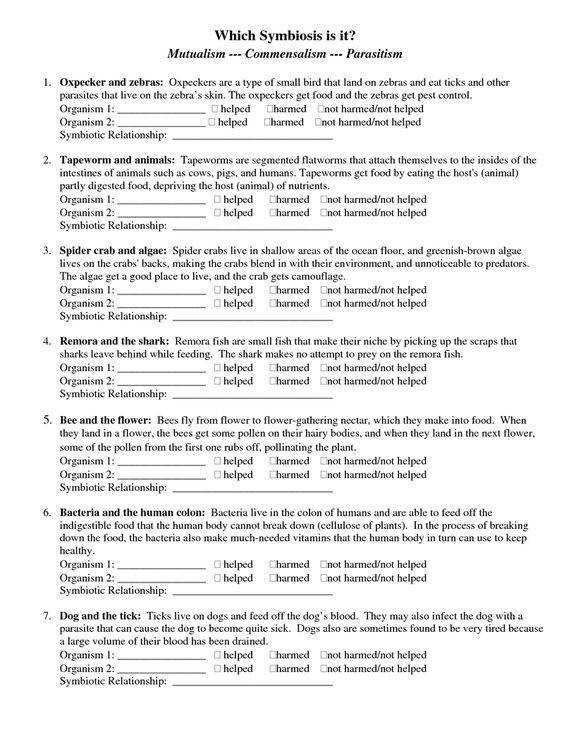 Printables Symbiotic Relationships Worksheet types of and worksheets on pinterest page 1 symbiosis worksheet doc