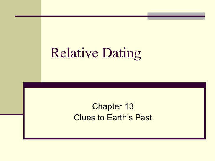 Relative Dating Chapter 13 Clues to Earth s Past