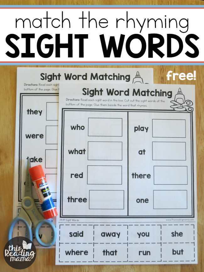Sight Word Worksheets Free Match the Rhyming Sight Words This Reading Mama