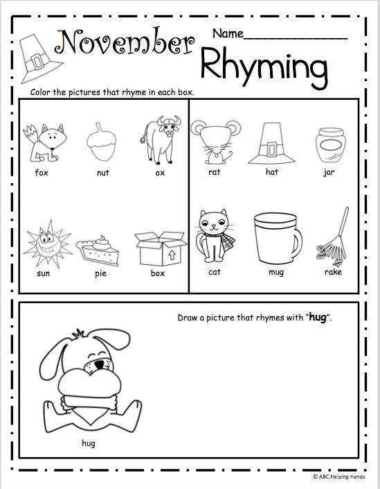 November Rhyming Worksheet – Free literacy building page for Kindergarten and Preschool Use this worksheet as a rhyming assessment page or practice