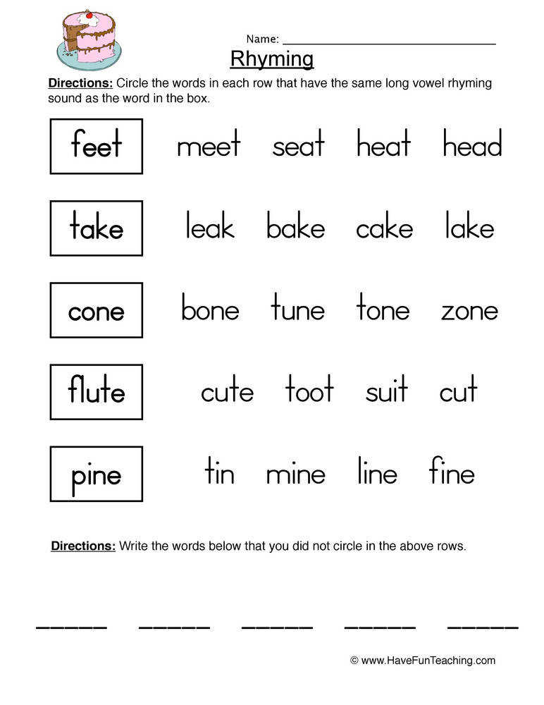 Free Rhymes Worksheets · 17 Best images about Beginning of the Year on Pinterest