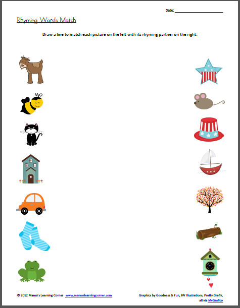 Rhyming Words Match Worksheet