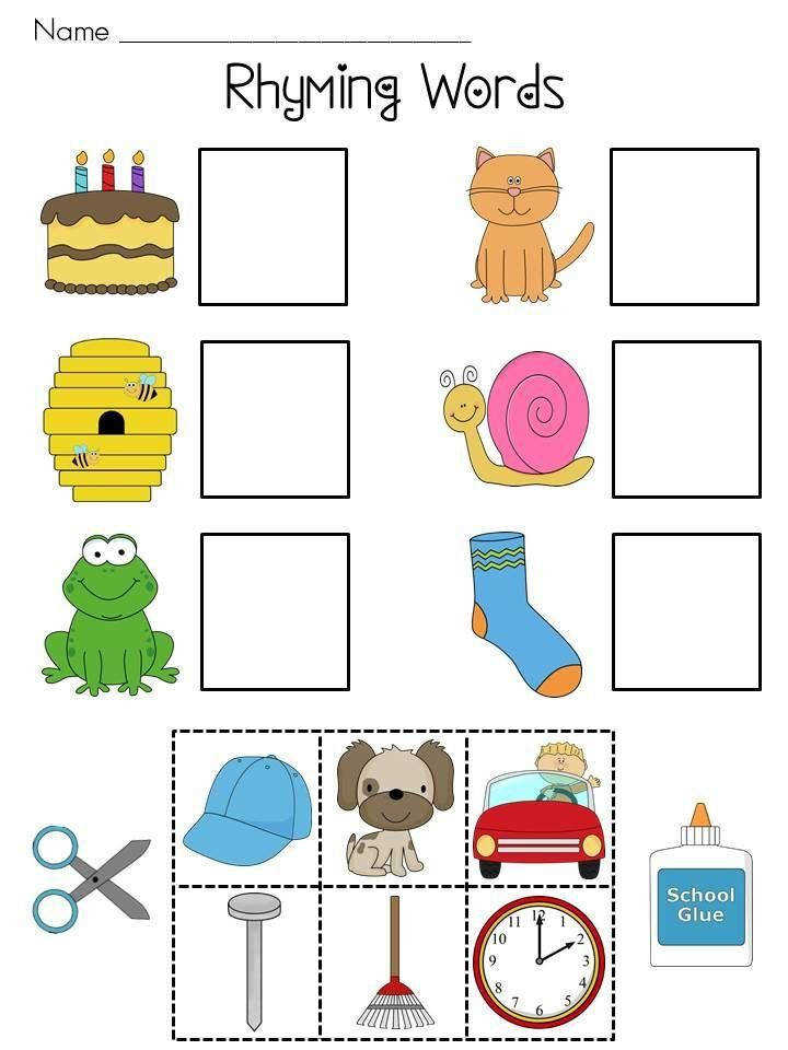 Free Printable Cut And Paste Rhyming Worksheets For Kindergarten 1 More