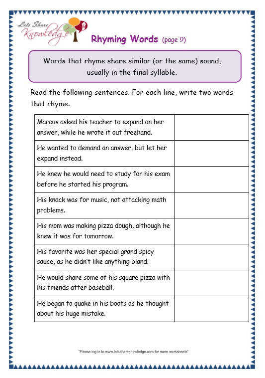 Grade 3 Grammar Topic 32 Rhyming Worksheets