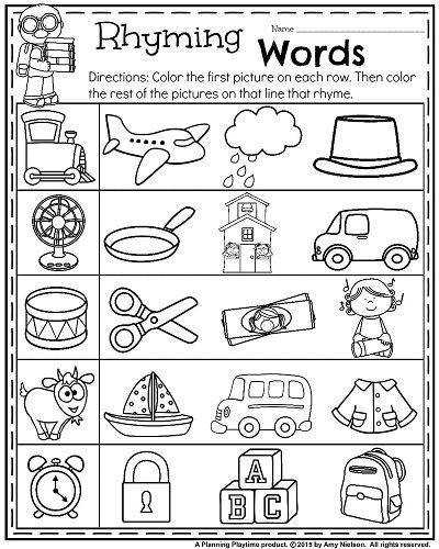 Back to School Kindergarten Worksheets Rhyming