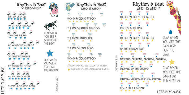 Printables for Teaching Kids the Difference Between the Rhythm and the Beat using Incy Wincy Spider
