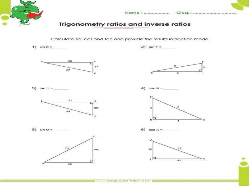 Solving right triangles worksheet answer key