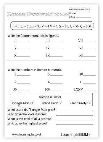 Roman Numeral worksheet Should we addd this to free resources