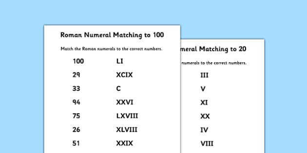 T2 M 415 Roman Numerals and Number to 100 Matching Worksheet ver 2