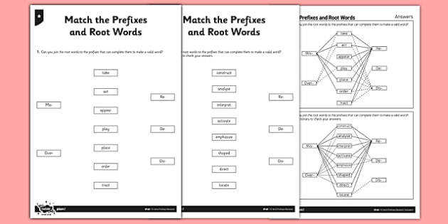 Match the Prefixes and Root Words Differentiated Activity Sheet Pack GPS Prefixes Root