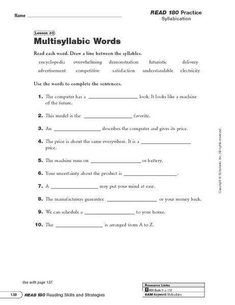 Number Names Worksheets root words worksheets 4th grade Multisyllabic Words 4th 6th Grade Worksheet