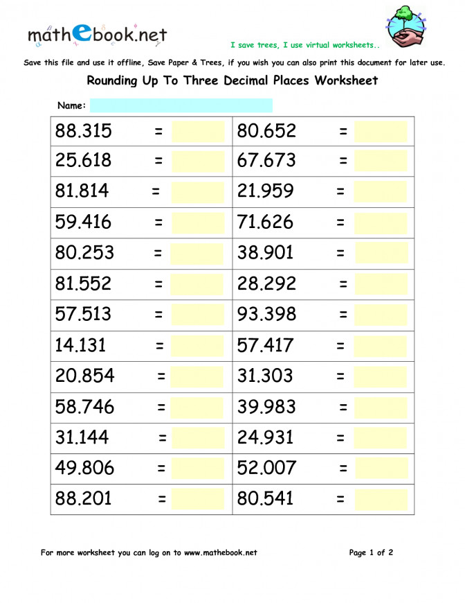 rounding decimals worksheet. Black Bedroom Furniture Sets. Home Design Ideas