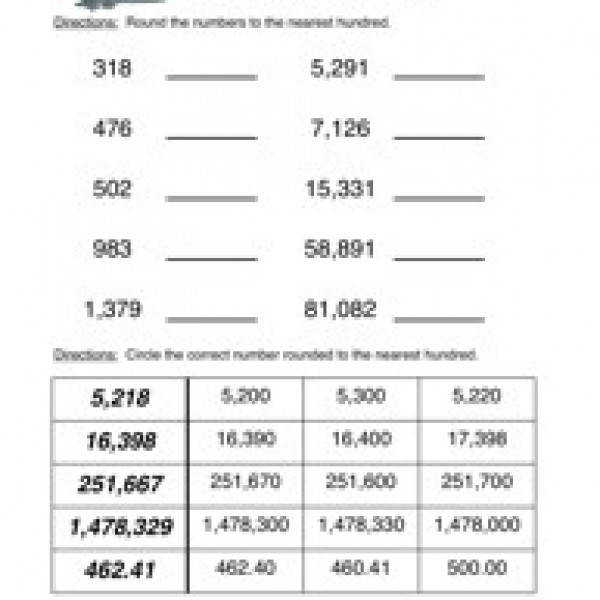 Rounding To The Hundred Thousands Place Students are asked to Rounding Numbers Worksheets to the nearest 100