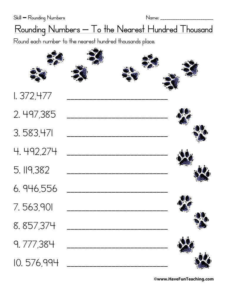 Rounding to the Nearest Hundred Thousand Worksheet
