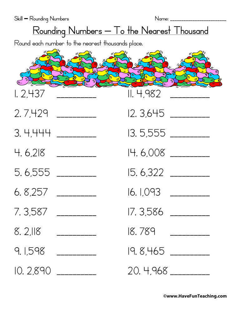 Rounding To The Nearest Hundred Thousand Worksheets