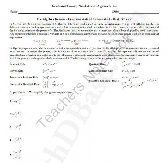 Funds of Exponents 3 Basic Rules 2 from MathDBase on TeachersNotebook 4 pages This is the eighth worksheet in the Basic