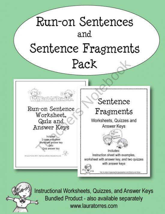 This pack bines my popular run on sentence and sentence fragment products which are also sold separately Included are instructional worksheets