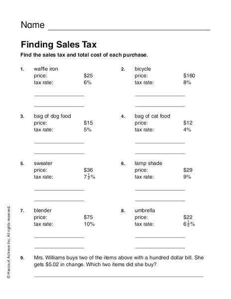 Best Solutions of Sales Tax Worksheets With Additional Resume