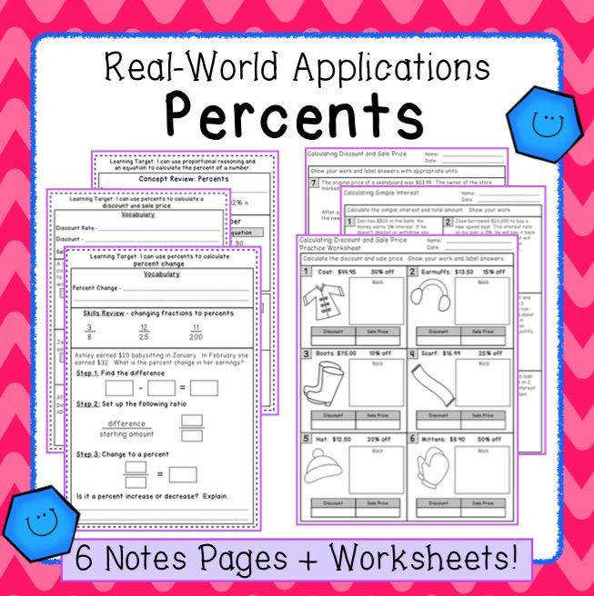 Notes and worksheets to teach real world applications with percents tax tip discount