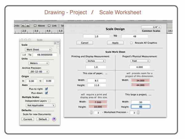 scaled drawing worksheet