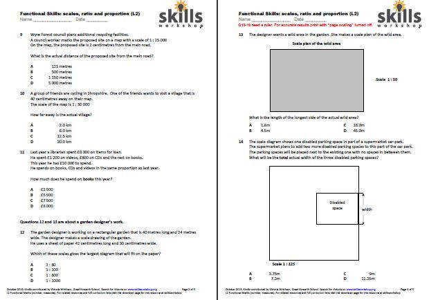 Functional Maths L2 Ratio scales and proportion multiple choice worksheet