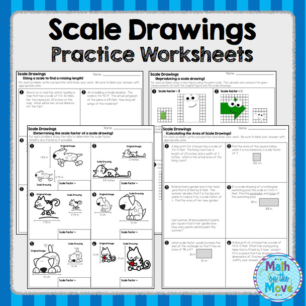 Scale Drawings Practice Worksheets and Assessment 7 G 1