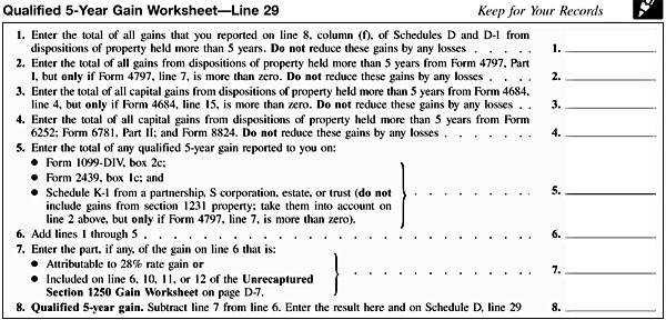 ScheduleD Qualified5YearGainWorksheet Line29