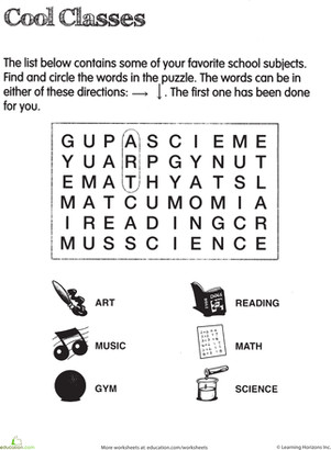 Second Grade Reading & Writing Worksheets School Subject Word Search