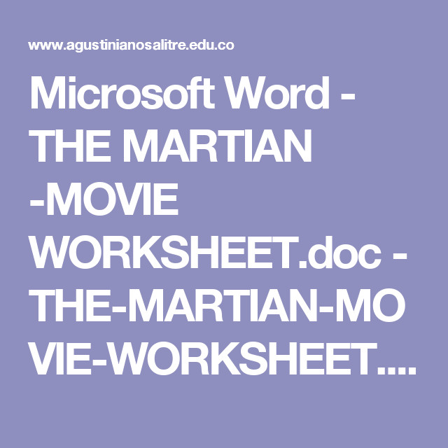 Microsoft Word THE MARTIAN MOVIE WORKSHEETc THE MARTIAN MOVIE