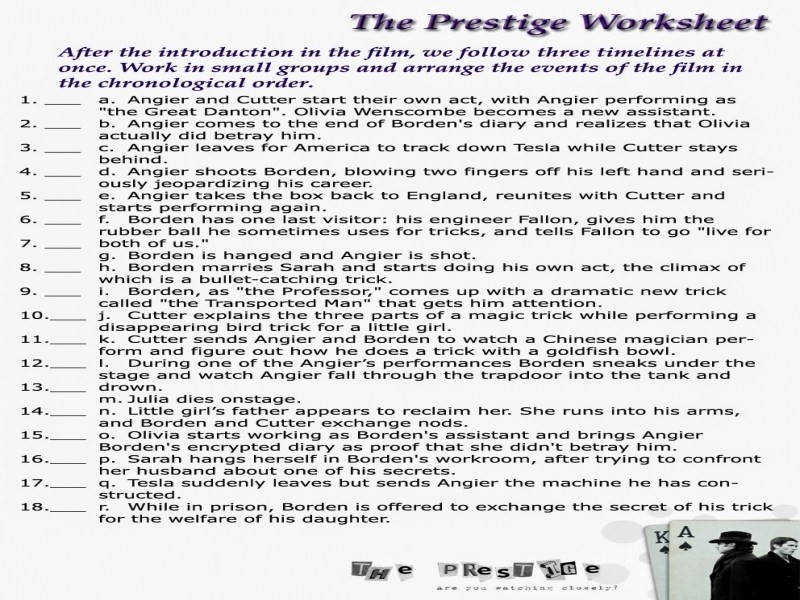 Worksheet English Teacher Exposed The Prestige Movie Worksheets