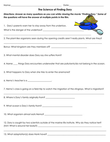 The Science of Finding Dory Movie Worksheet by sventresca Teaching Resources Tes