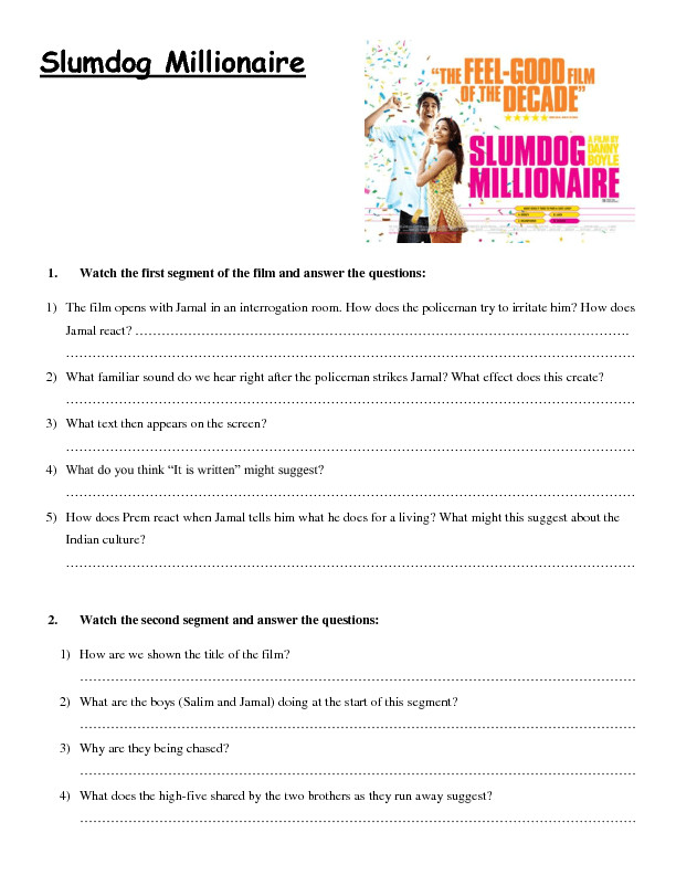 Movie Worksheet Slumdog Millionaire Presentation