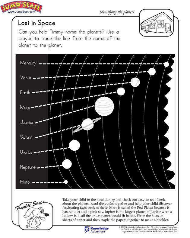 """Lost in Space"" – 1st grade Kids Science Worksheet on Planets"