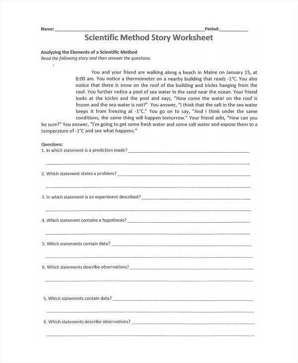 Learn Sample Scientific Method Worksheet 8 Free Documents Download In