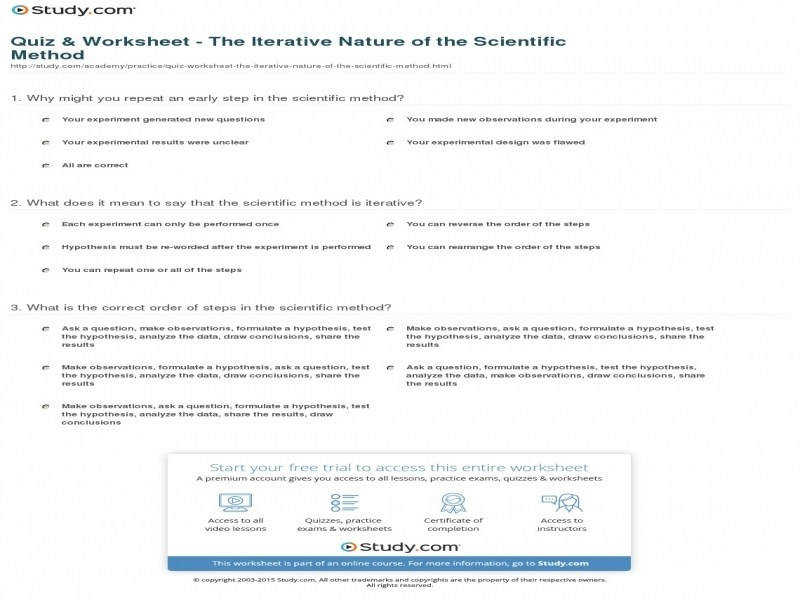 Quiz & Worksheet The Iterative Nature The Scientific Method