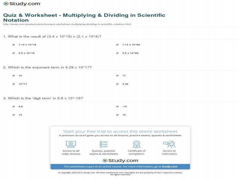 Quiz & Worksheet Multiplying & Dividing In Scientific Notation